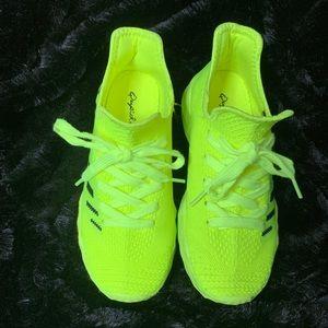 Neon Green Striped Sneakers